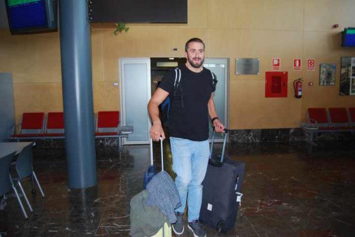 Juan Pablo Guido en su llegada a Burgos